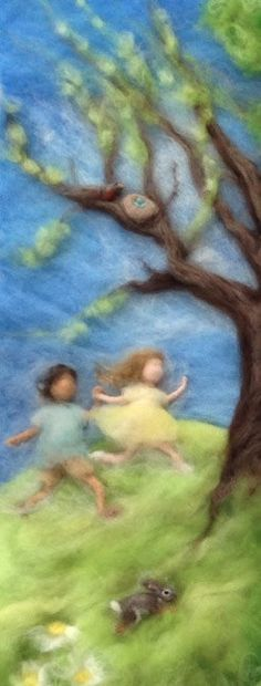Waldorf Seasons Needlefelt Wool Painting by ClaudiaMarieFelt