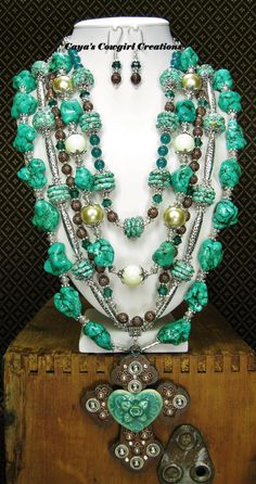 WESTERN STATEMENT Necklace / Multi Strand Necklace / Green Necklace / Cross Necklace / Cowgirl Western  / Chunky - SouTHWesT GRanDeuR by CayaCowgirlCreations on Etsy
