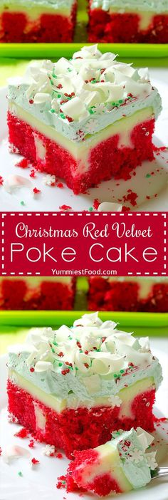 Christmas Red Velvet Poke Cake - very tasty, rich and moist! A taste of Christmas in every bite of this delicious cake!Christmas Red Velvet Poke Cake - very tasty, rich and moist! A taste of Christmas in every bite of this delicious cake. 13 Desserts, Holiday Desserts, Holiday Baking, Holiday Treats, Holiday Recipes, Delicious Desserts, Christmas Treats, Christmas Parties, Xmas