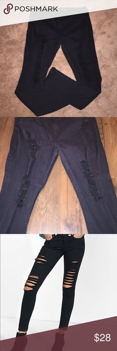 Express ripped black Jean leggings Express ripped black Jean leggings. Mid rise fit. No fading. The length is an Express short. Although I don't feel like they're short. Express Jeans