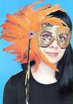 Carnival In Aruba! Oranjestad Orange Sherbet Feather Spray & Gold Sequined Mask