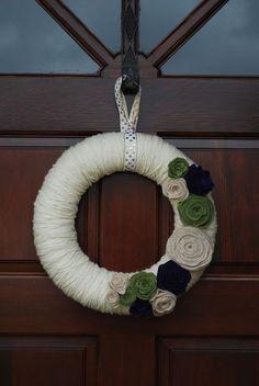 Yarn wreath felt flowers. beautiful colors and soft texture.