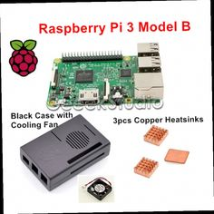 52.99$  Buy now - http://alina9.worldwells.pw/go.php?t=32659681082 - 2016 Original Raspberry Pi 3 Model B 1GB RAM Quad Core WiFi & Bluetooth with ABS Black Case + Cooling Fan + Copper Heatsinks 52.99$