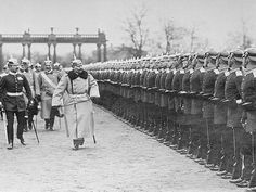 Kaiser Wilhelm II of Prussia and the German empire inspects his troops on the eve of war in 1914