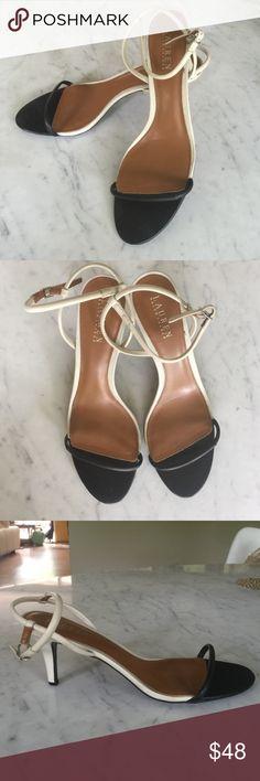 Lauren by Ralph Lauren B&W leather kitten heels Gently worn, great condition! Very light wear. Lauren Ralph Lauren Shoes Heels