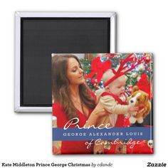 Kate Middleton Prince George Christmas 2 Inch Square Magnet