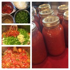 Spaghetti Sauce! Canning Recipe 5 gallon bucket of Roma tomatoes 3 lbs chopped onions 1 head garlic chopped 6 bell peppers chopped 3 hot peppers chopped Cool this for 1.5 hours Then add 2 cups cooking oil 1/2 cup salt 2 cups sugar 5- 12 oz can tomato paste 2 Tbsp oregano 2 Tbsp basil Blk pepper to taste Cook up to 45 minutes Can in quart jars in hot water bath for ten minutes. Makes 12 quarts!