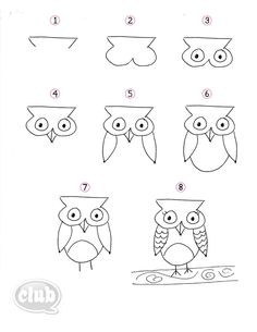 Easy step-by-step on how to draw an owl art lessons, drawing lessons, Bird Drawings, Doodle Drawings, Easy Drawings, Doodle Art, Drawing Owls, Owl Doodle, Animal Drawings, Drawing Lessons, Art Lessons