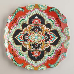 Orange Paisley Antigua Plates, Set of 2 | World Market
