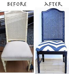 chevron style re-apolstering. Thinking of using on old chair for a vanity chair reboot!