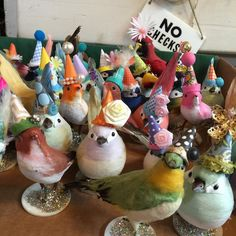 """""""I left the birds unsupervised in the studio last night and evidently they had a little party bird fun.  #mystudio #craftinglikeademon #birds #thingsimake"""""""
