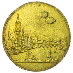 Frankfurt 1311 - 1806 Dukat 1796 Gold Kontribution an die französische Revolutionsarmee. Av: Stadtansicht von Westen, oben große Wolken, Rv: Schrift in Lorbeerkranz.