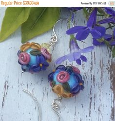 SALE Rose Goldenrod and Purple Lampwork by WithTheseHandsCreate