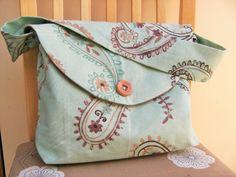 Aqua Paysley Cotton Handbag from strong by dorotheasdesign on Etsy