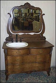 antique dresser as bathroom vanity | Antique Bathroom Vanity: Antique Oak Dresser w/ Kohler Sink and Price ...