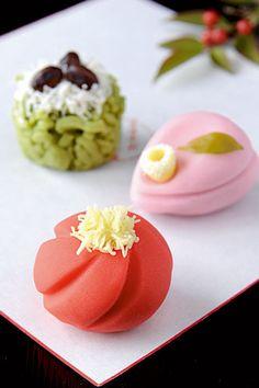 Japanese Wagashi Cakes|奈良屋本店生菓子 紅梅・椿・松