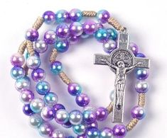CREATEME™ Deisgn Your Own Custom Handmade Rosary - Rope Rosary with many color options, medallion options and crucifix options St Benedict Cross, English Alphabet Letters, Rosary Necklace, Rosary Catholic, Just Because Gifts, First Holy Communion, Chain Pendants, No Name, Design Your Own