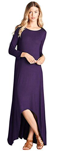 39988fe02142 online shopping for Tabeez Women s Solid Loose Sleeve High Low Long Jersey  Maxi Dress (Made In The USA) from top store. See new offer for Tabeez  Women s ...
