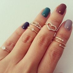 Knuckle rings and multi colored nail ink
