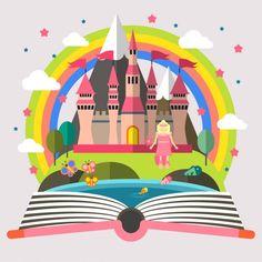 Princesse et château Illustration Vecteur gratuit
