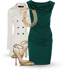 """""""Green Draped Dress"""" by uniqueimage on Polyvore. Not into the coat"""