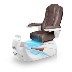Luminous pedi-spa shown in Walnut Ultraleather cushion, White Pearl base, Aurora LED Color-Changing bowl (shown in blue)
