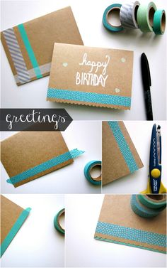 Washi Tape Stationery Set by She Makes a Home ♥ the cards edge with colored paper on the inside (See bottom R pic) Birthday Crafts, Birthday Wishes, Birthday Sayings, Sister Birthday, Card Birthday, Birthday Images, Cumpleaños Diy, Tarjetas Diy, Washi Tape Diy