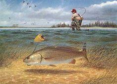 Gone Fishing, Fishing Lures, Stamp Printing, Fish Print, Red Fish, Saltwater Fishing, Wildlife Art, Beautiful Paintings, Kayaking