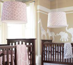 tan & white gender neutral nursery w.pink/blue accents