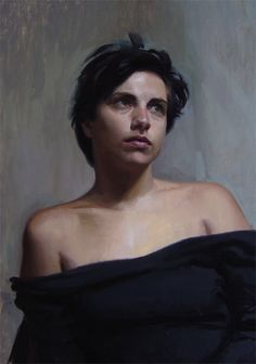 A Moment's Reflection - Portrait Of Valentina, 46 x 50cm, oil on gessoed panel (2008), Andrew Ameral, figurative portrait of woman