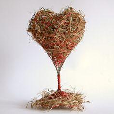 Serce z trawy - dekoracja walentynkowa lub prezent, gdy chcemy dać komuś serce...  Valentine's Day decor or a gift.  by Gałecka Dekoracje