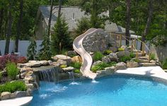A Pool Town Waterslide and Waterfall  www.pooltown1.com