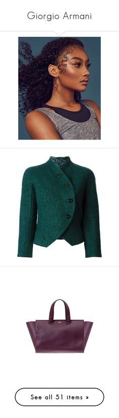 """""""Giorgio Armani"""" by pocahaunted666 ❤ liked on Polyvore featuring outerwear, jackets, blazer, armani, coats, giorgio armani, green jacket, velour jacket, green blazer and giorgio armani blazer"""