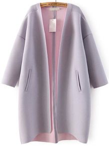 Purple Long Sleeve Pockets Loose Coat