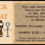 You are invited to come in costume to Trick-or-Treat at Bel Aire Senior Living in Orem later today. WHEN: October 31st, 2013 WHEN: 5:30 – 9:00 pm WHERE: Bel Aire Senior Living, Orem UT Family members of our residents and employees are especially welcome.