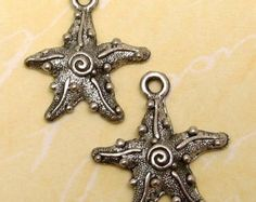 Starfish Charm Silver Antique Pewter 2 Pc. AP41 fab beads etsy