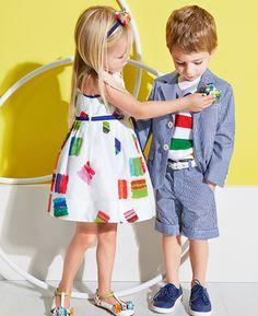 Simonetta - White Dress with Colour Block Squares Print Fashion Kids, Little Boy Fashion, Young Fashion, Girl Fashion, Modest Summer Fashion, Matching Family Outfits, Kids Icon, Boy Outfits, Ideias Fashion