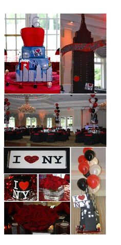 """Sweet 16 New York Theme"" ""NewYorkTheme State Buildi. Sweet 16 Party Decorations, Sweet 16 Centerpieces, Party Themes, Party Ideas, Birthday Party Images, Sweet 16 Birthday, Birthday Parties, New York Theme Party, Nyc"