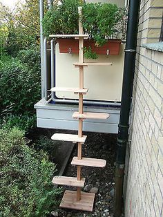 Katzentreppe XL Katzenleiter für den Balkon - Naturholz - Douglasie Massivholz