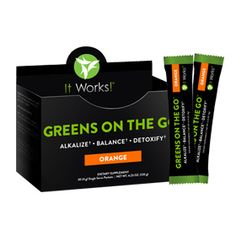 Greens on the Go™ – Orange | It Works - Alkalize, energize, and detoxify wherever you go with Greens on the Go™. This convenient, single serving packet of Greens is now powered by an even better pH-balancing blend, supercharged with an acidity-fighting combination of magnesium and potassium for even more alkalizing properties. The addition of a cutting-edge probiotic helps you maintain that healthy balance by keeping your digestive system regular and toxins flowing out.
