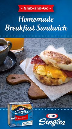 Skip the drive-thru and make everyone's favorite breakfast sandwich at home. Ten minutes and four simple ingredients is all it takes to make this favorite filled with eggs, bacon and the original American cheese, Kraft Singles. Breakfast Items, Breakfast Dishes, Breakfast Recipes, Great Recipes, Favorite Recipes, Low Carb Cheesecake Recipe, Good Food, Yummy Food, American Cheese