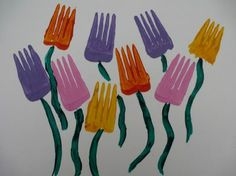 Spring crafts for kids - Fork printed flowers