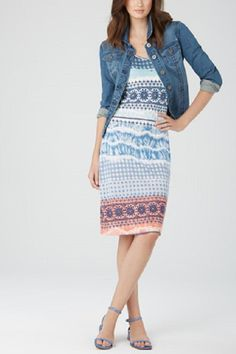Tribal Brand sleeveless tank dress. Great for warm weather or pair with our Tribal Jeans Jacket.   Tribal Sleevless Dress by Tribal. Clothing - Dresses - Casual Clothing - Dresses - Printed Dallas, Texas