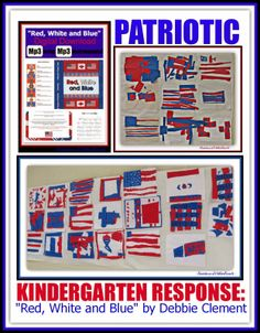 """End-of-Year Patriotic Response in Kinder Art to the Picture Book """"Red, White and Blue"""" by Debbie Clement Blue Pictures, Community Helpers, End Of Year, Teaching English, Esl, Social Studies, No Response, Preschool, Foundation"""