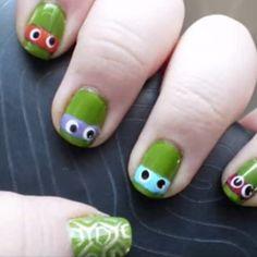 This TMNT tutorial: | 25 Gloriously Geeky Nail Art Tutorials