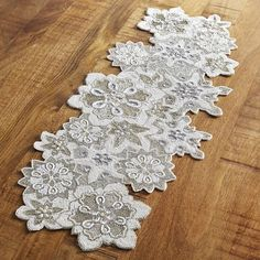 "Pier 1 Imports Snowflakes Beaded 36"" Table Runner"
