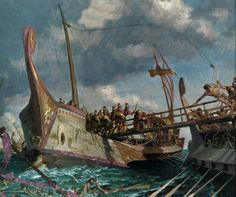Naval battle between the Romans and Carthaginians, 260 BC. ~ the bridge has two huge spikes on the end that is dropped onto the enemy ship. The spikes were shaped like a birds beaks. The bridge with the spikes was called a 'Corvus' or crow.