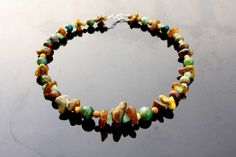 Natural statement necklace. Big Greenish by HeymesBalticAmber, $79.00