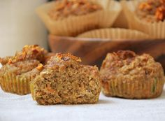 Zucchini-Carrot Spiced Muffins (uses coconut flour) Paleo Sweets, Paleo Dessert, Healthy Desserts, Healthy Food, Paleo Baking, Gluten Free Baking, Whole Food Recipes, Cooking Recipes, Flour Recipes