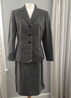 Le Suit Petite Womens Gray Wool Blend Skirt Suit Size 10P #LeSuit #SkirtSuit